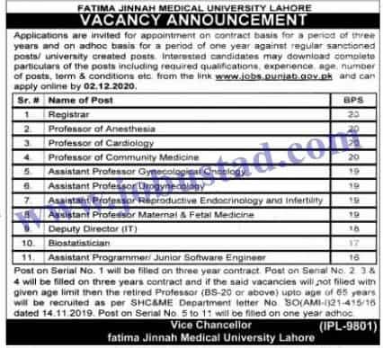 Jobs in Fatima Jinnah Medical University (FJMU) Nov 2020