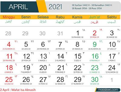Template Kalender 2021 Bulan APril