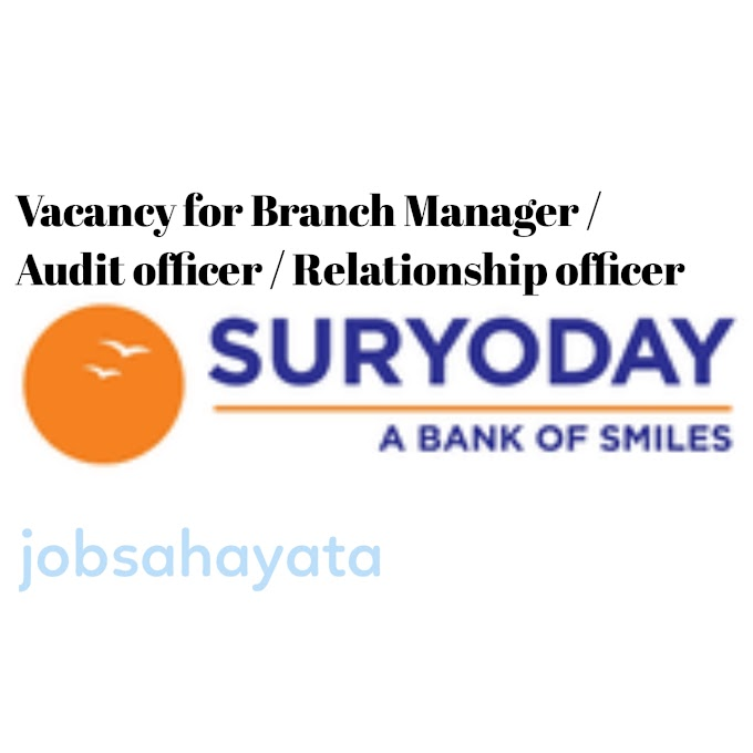Microfinance company job for Branch Manager / Audit officer / Relationship officer in suryoday Small finance bank