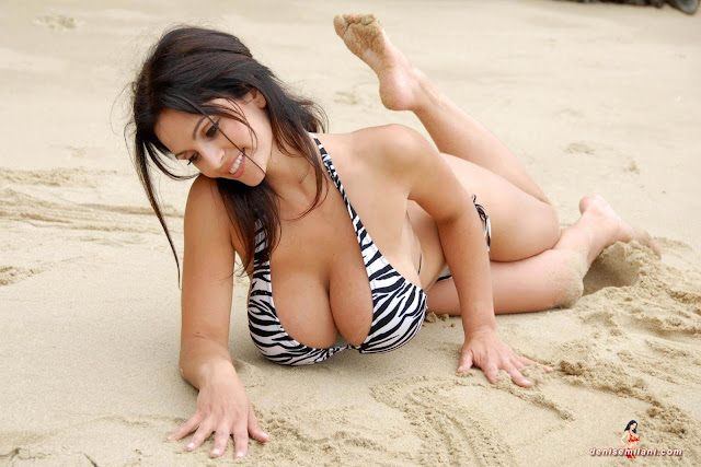 Denise Milani Beach Zebra HD Sexy Photoshoot Hot Photo 6