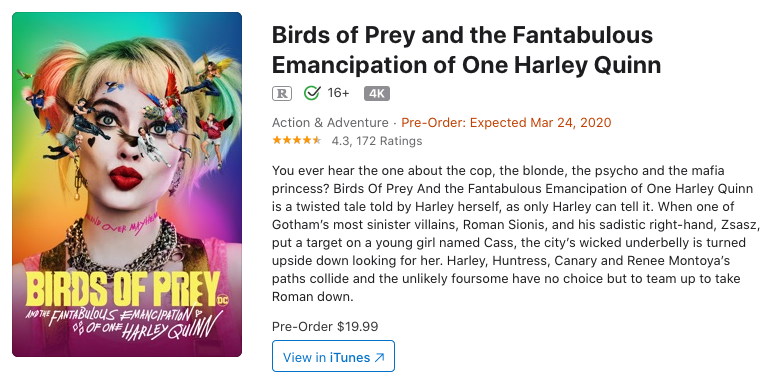 iTunes Birds of Prey pre-order