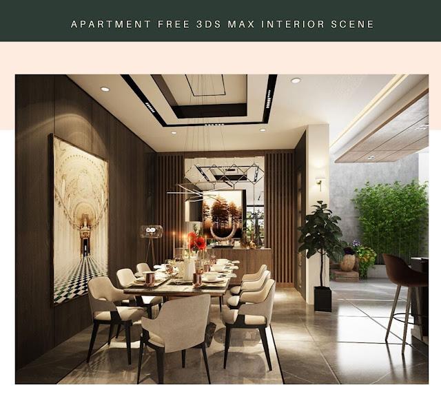 Apartment 3ds Max Interior Scene , 3d free , free 3d models , 3d model free download