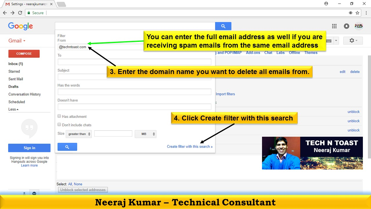 How to create filter in Gmail