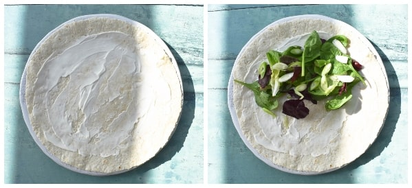 Onion Bhaji Lunch Wrap - Step 1 - wrap and salad leaves