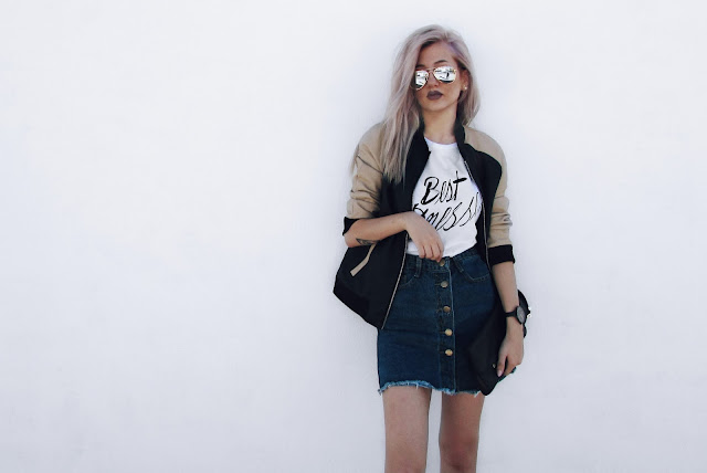 bomber jacket skirt outfit