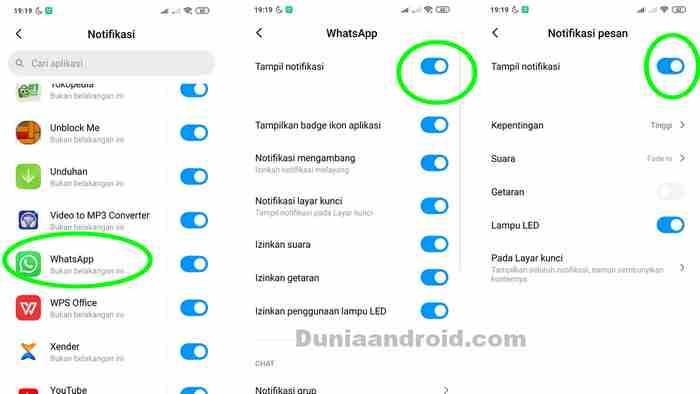 Pengaturan peringatan pesan masuk WA di android
