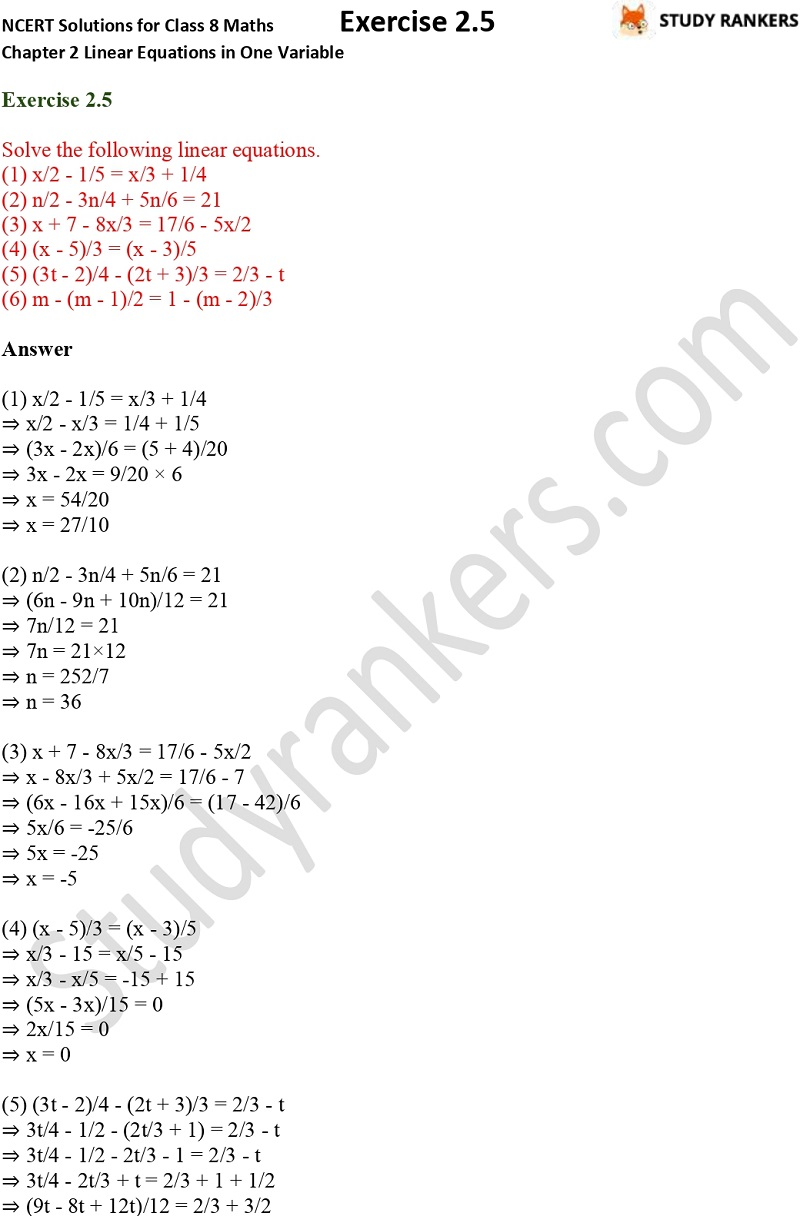 NCERT Solutions for Class 8 Maths Chapter 2 Linear Equations in One Variable Exercise 2.5 Part 1