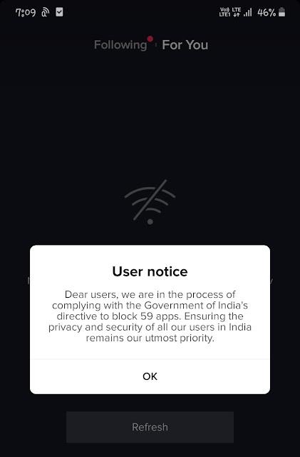 TikTok ban user notice