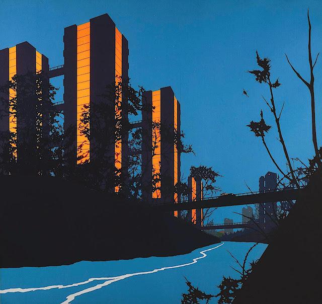 David Thorpe art, orange towers at night