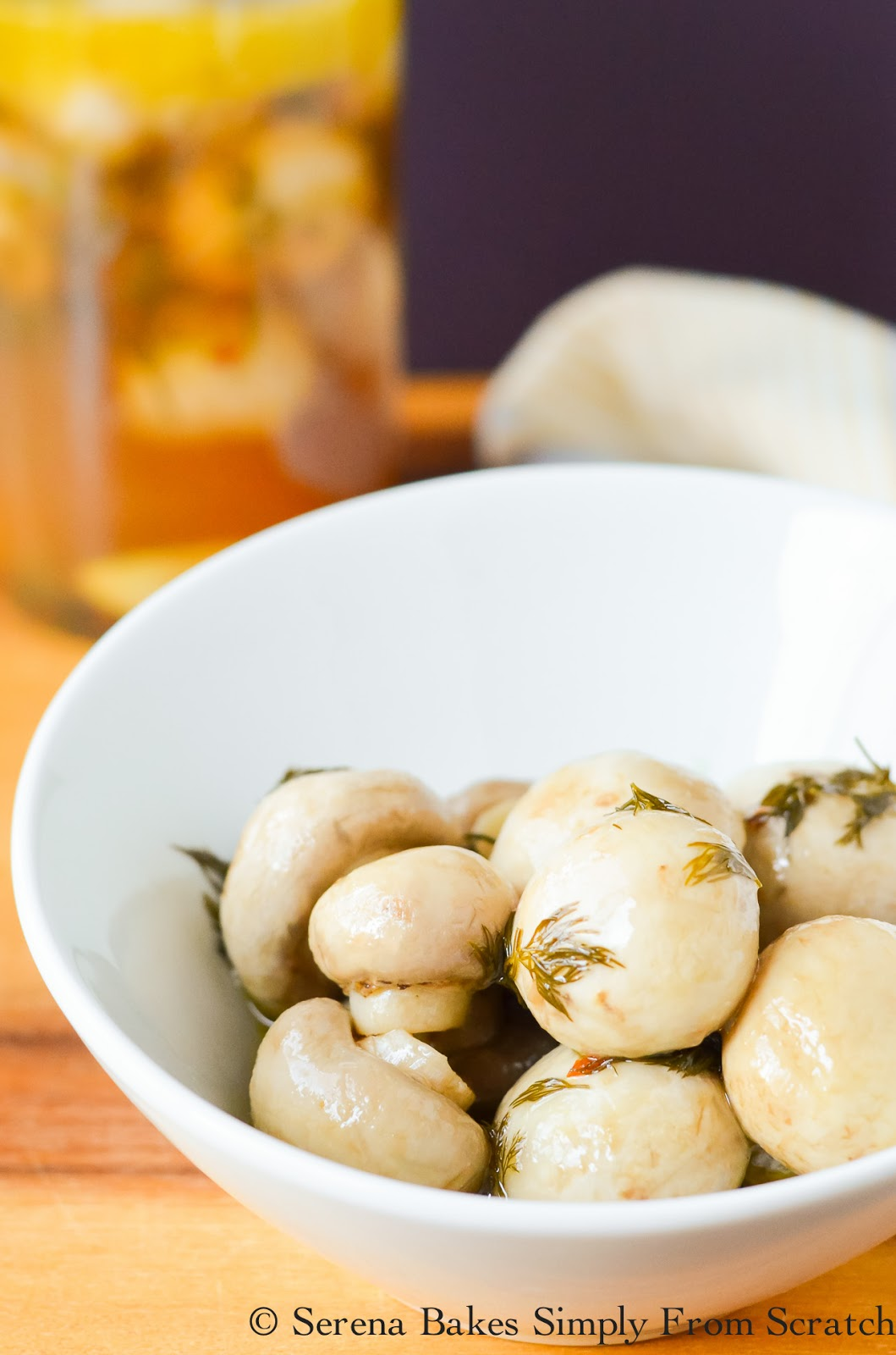 Garlic Dill Marinated Mushrooms are a favorite snack in our house! Perfect for entertaining!