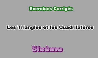 Exercices Corrigés Sur Les Triangles et les Quadrilatères 6eme  PDF