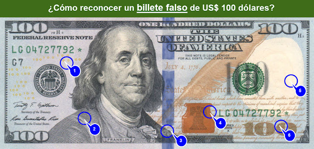 Detectar billete US$ 100 dólares falsos