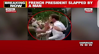 Hilarious Moment Protester Gives France President, Macron a DIRTY SLAP (SEE VIDEO)