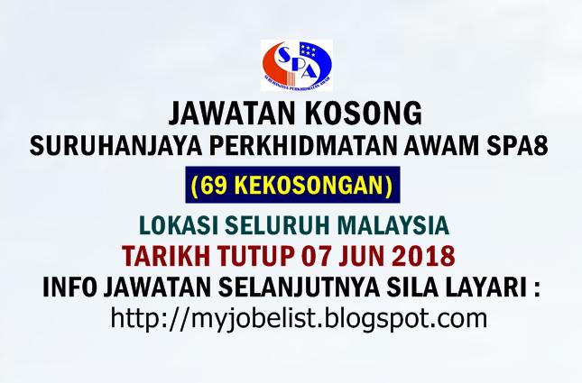 Jawatan Kosong Suruhanjaya Perkhidmatan Awam SPA (SPA8) Jun 2018