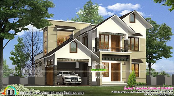 2280 square feet sloping roof 4 bedroom home