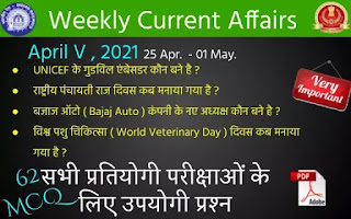 Weekly Current Affairs ( April V , 2021 )