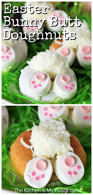 Easter Bunny Butt Doughnuts ~ Yummy, adorable, & super easy to make! Such a cute treat for Easter breakfast, Easter brunch, or as a fun little project to make with the kids.  So easy, even the youngest of little ones can participate in the fun.  www.thekitchenismyplayground.com