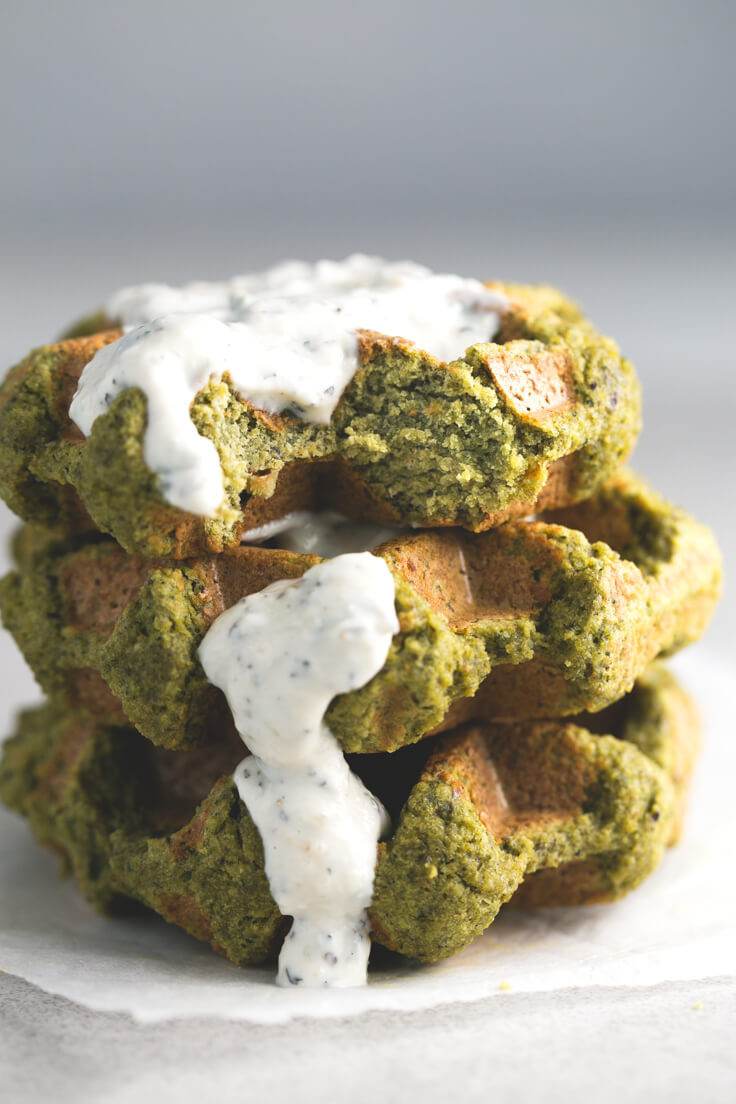 Falafel waffles with vegan yoghurt sauce: Before, we made fried or baked falafel, but now you make falafel waffles in our day to day because it does not contain oil, and it is made faster.