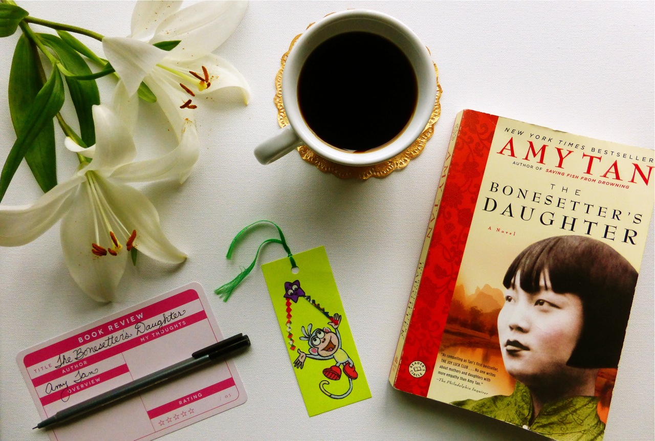 Amy Tan, The Bonesetter's Daughter, lily, lilies, Studio Calico journaling card, Fiestaware mug, Fiestaware White mug, read a book, journal about a book, black coffee, coffee