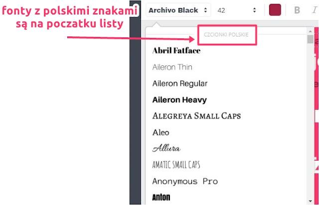 Jak znaleźć czcionki z polskimi literami w Canva.com - lista