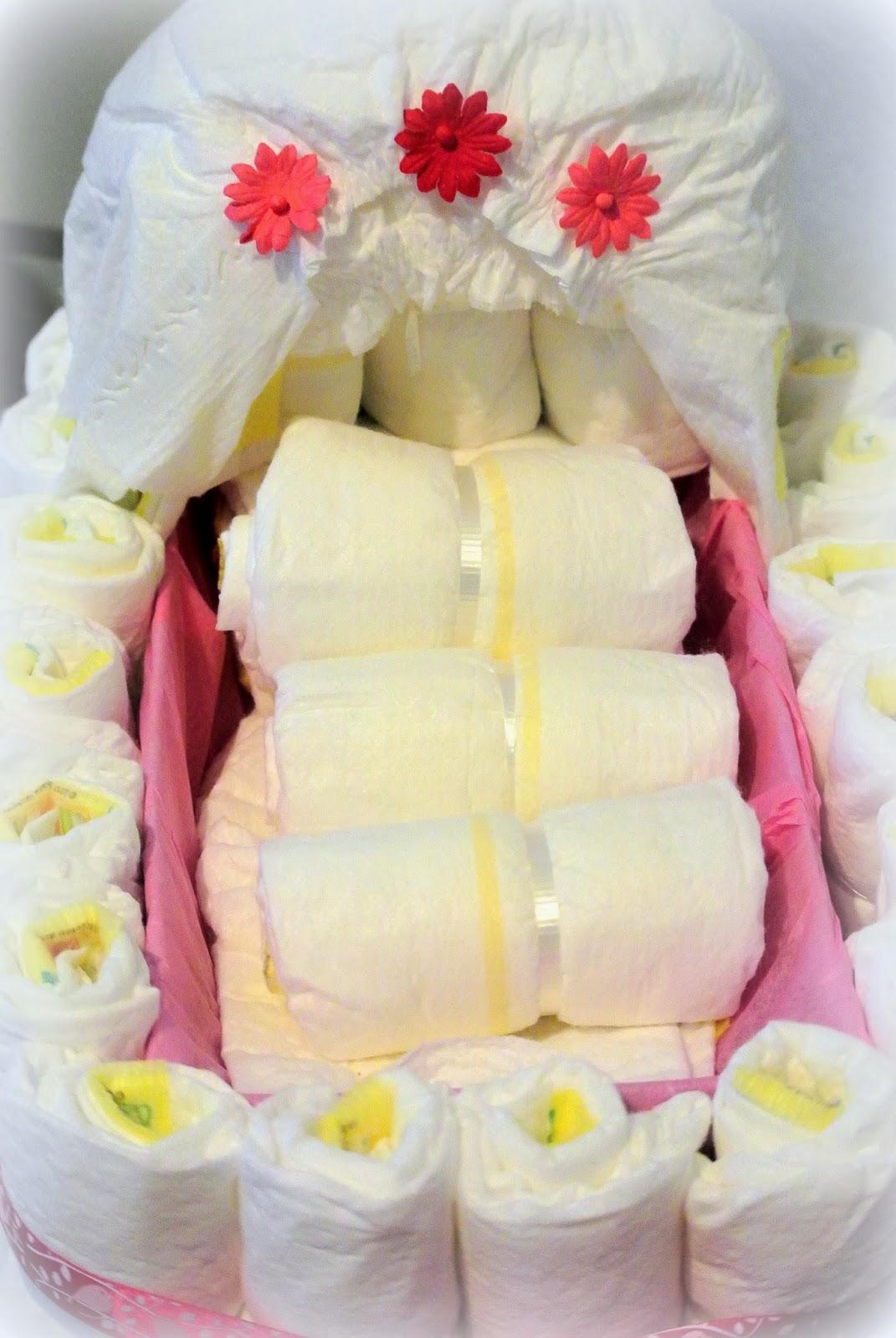 baby diaper cake, diaper bassinet