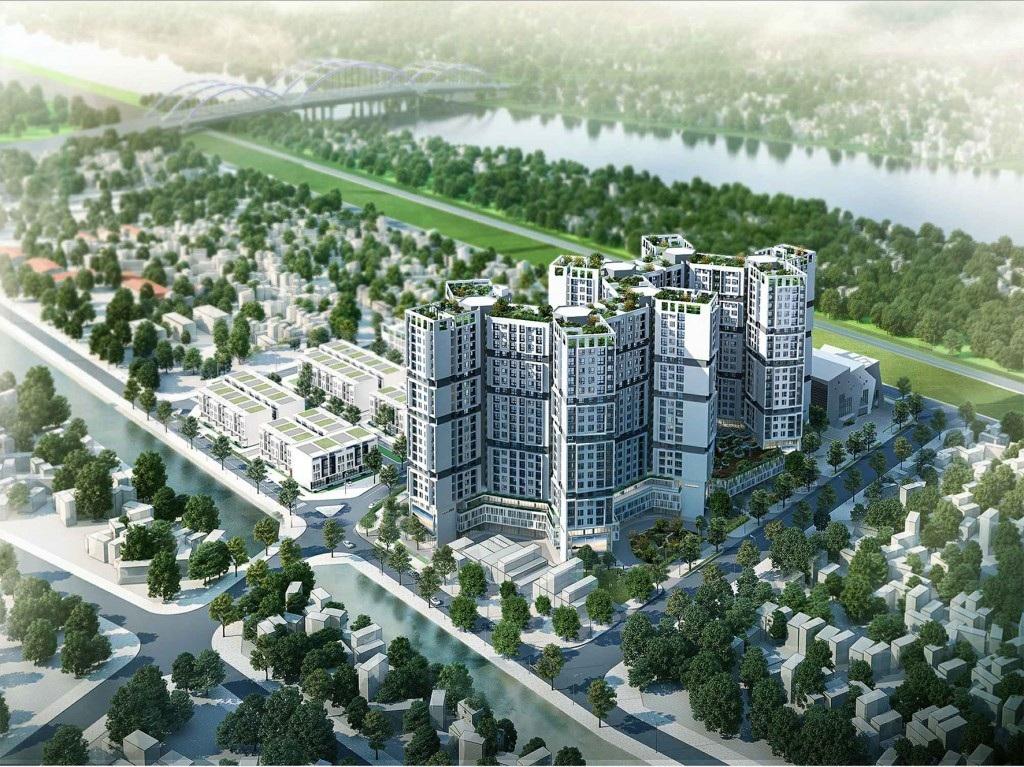 Căn hộ chung cư Đức Giang có view ra sông Đuống.