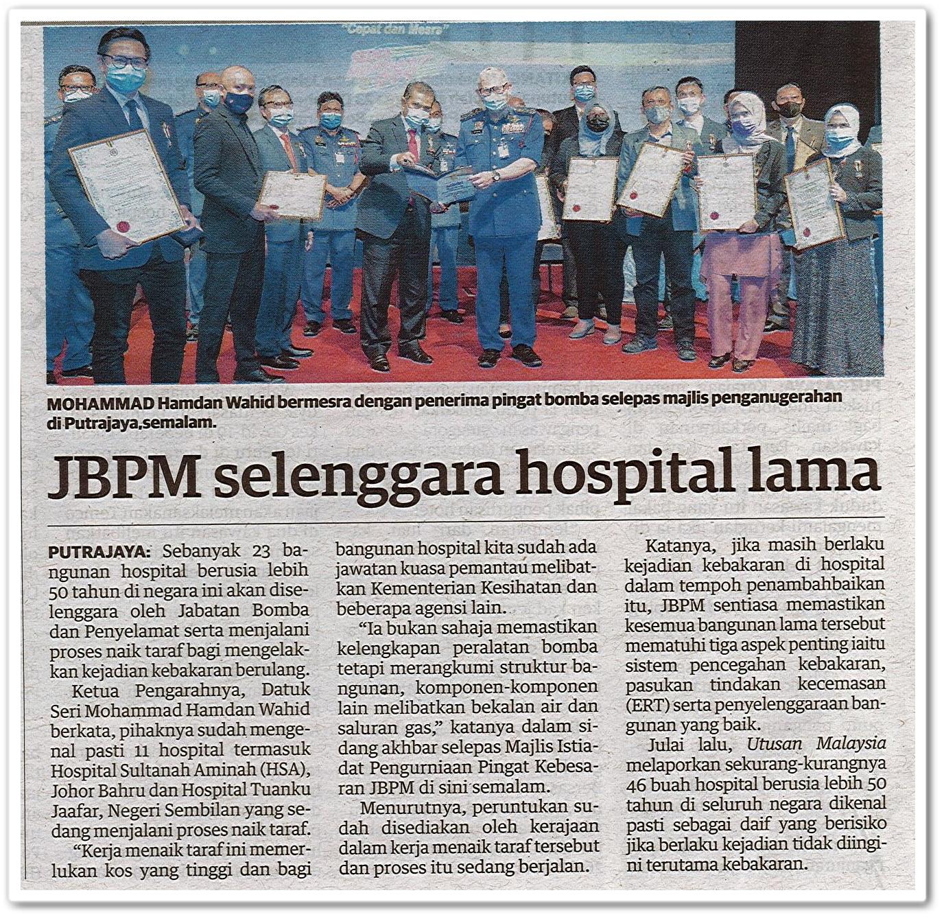 JBPM selenggara hospital lama - Keratan akhbar Utusan Malaysia   10 Oktober 2020