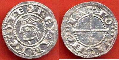 Moneda de plata de Alfonso II REX ARAGONE, finals del siglo XII.  ¿Y lo rey de Cataluña, por aón pare?