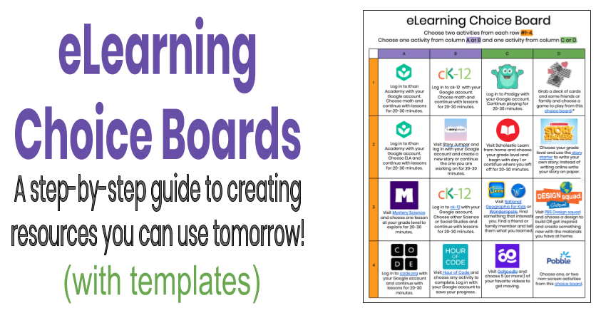 Teaching Tech And Twitter Elearning Choice Boards A Step By