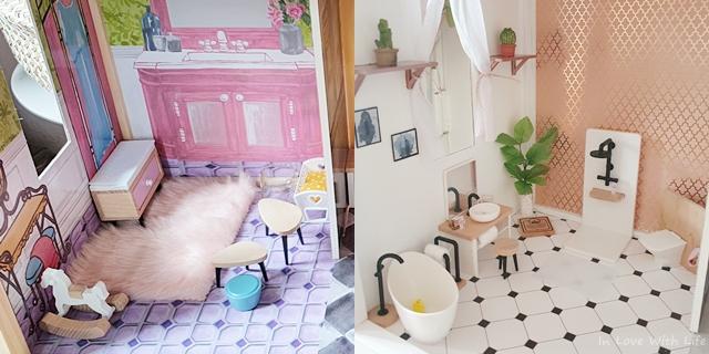 Puppenhaus renovieren DIY vorher nachher Bad