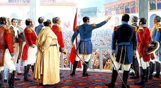 Dibujo de la Proclamación de la Independencia del Perú con Don José de San Martín