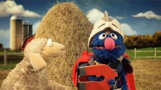 Super Grover helps a sheep. Super Grover 2.0 Farm, Sesame Street Episode 4325 Porridge Art season 43