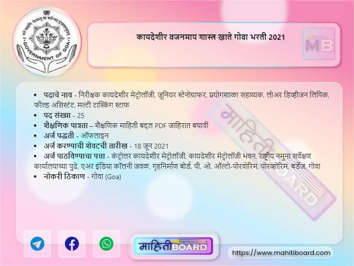 Department of Legal Metrology Goa Bharti 2021