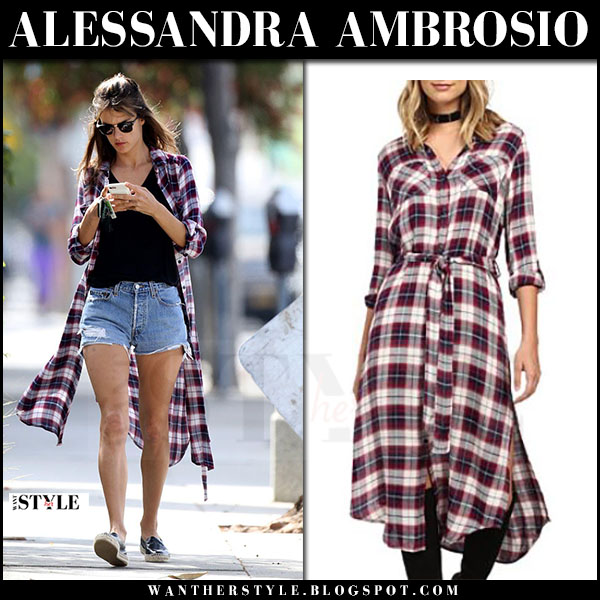 Alessandra Ambrosio in plaid shirt dress and denim shorts what she wore april 2017