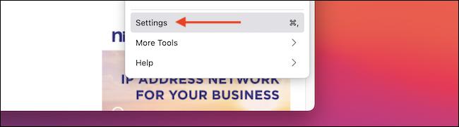 """حدد """"الإعدادات"""" من قائمة Firefox."""
