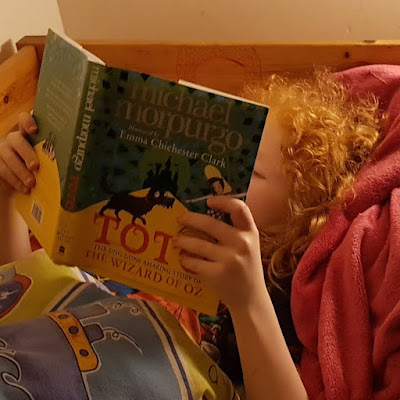 Child reading in bed with cosy blankets and child's duvet cover