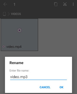 Convert video to MP3 audio by renaming