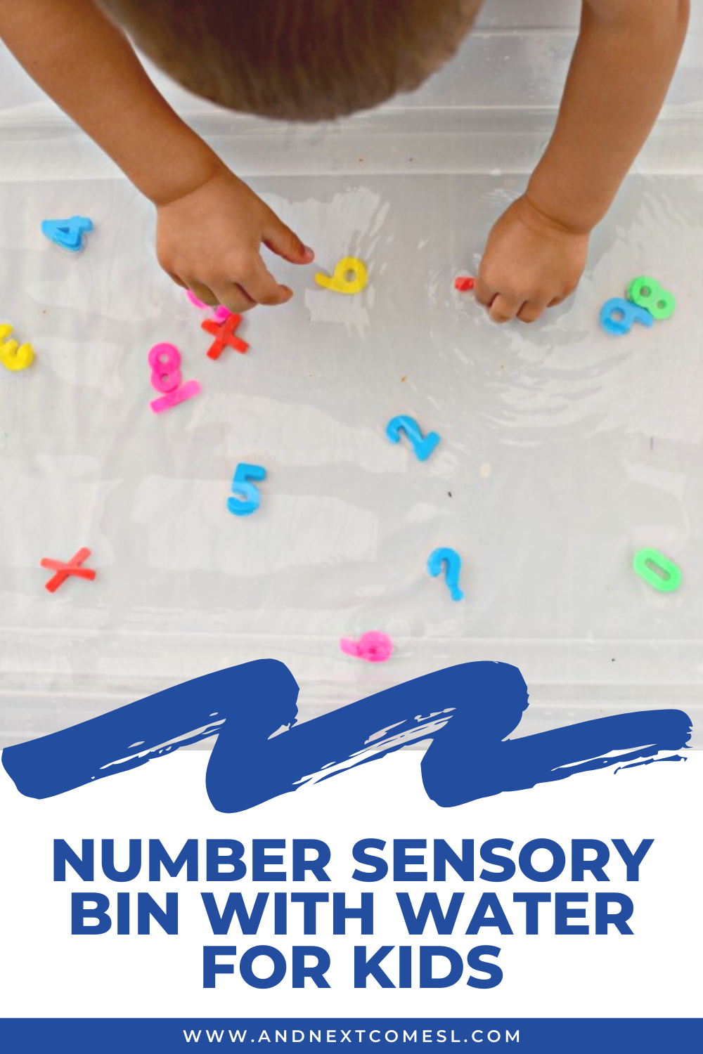 Number sensory bin idea - Your toddlers and preschoolers will love fishing for numbers with this fun water math activity!