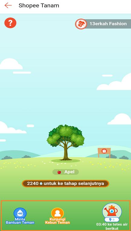 Menyiram Bibit/ Pohon Buah Pada Game Shopee Tanama di Aplikasi Shopee.