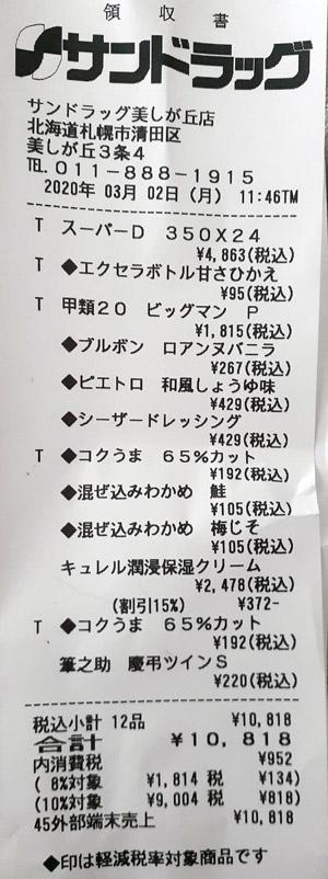 サンドラッグ 美しが丘店 2020/3/2 のレシート