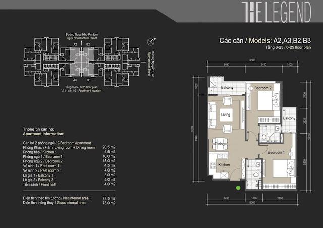 Mặt bằng căn hộ A2 A3 B2 B3 - 73m - The Legend