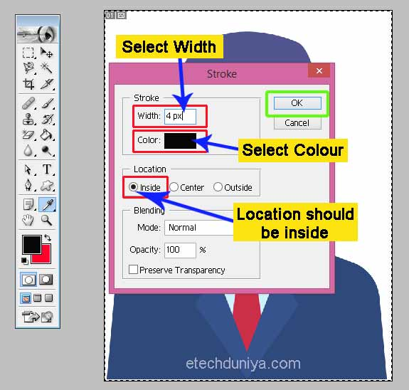 Select Width colour of border