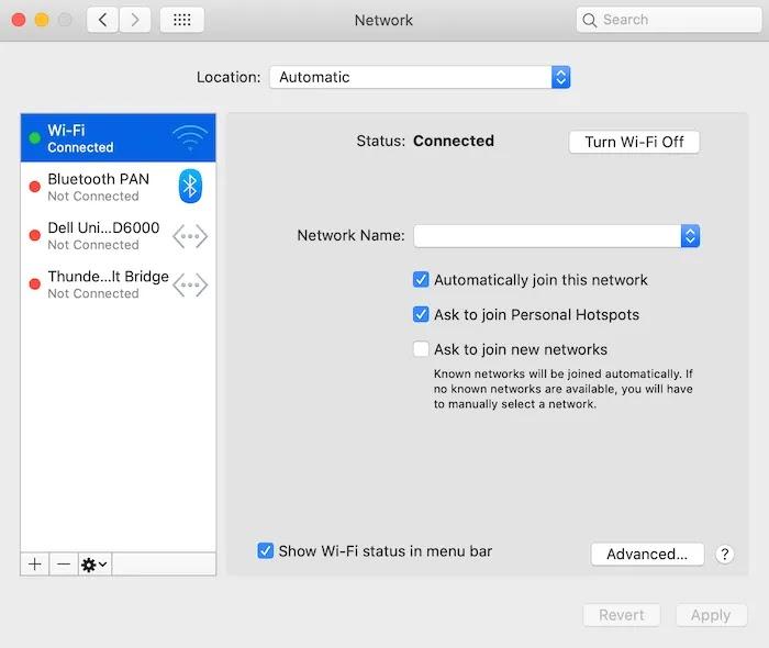 """في إعدادات """"الشبكة"""" بجهاز Mac ، حدد اتصالك النشط."""
