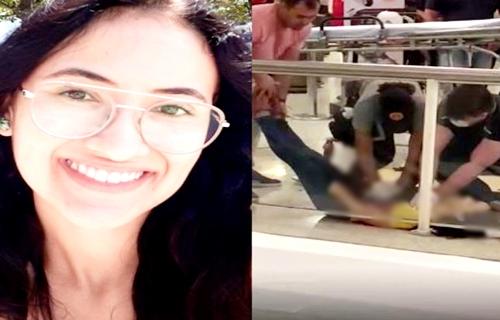Feminicídio: jovem mata colega de curso a facadas em shopping - IMAGENS FORTES