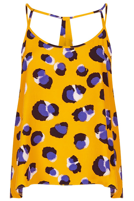Yellow and Blue leopard print cami top