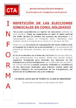 REPETICIÓN DE LAS ELECCIONES SINDICALES EN CONIL SOLIDARIO