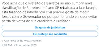 ENQUETE NO TWITTER: O Prefeito de Barretos Guilherme de Ávila ao desobedecer o Governador de SP que rebaixou Barretos a fase Laranja fez isto por quais motivos?