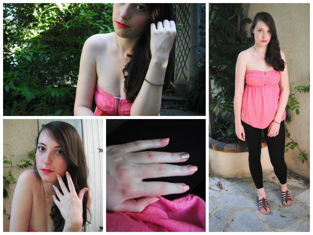 Lookbook été 2014 tenue 2 : bustier rose legging noir
