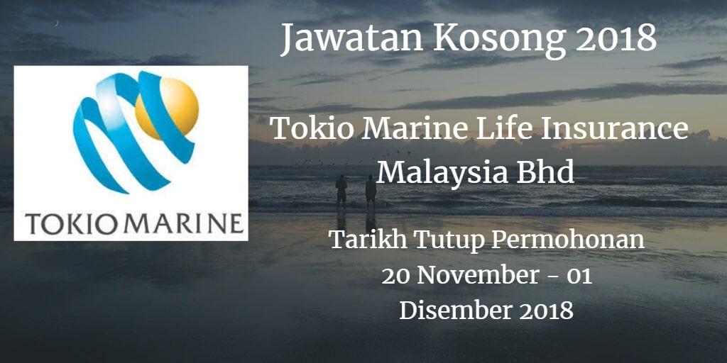Jawatan Kosong Tokio Marine Life Insurance Malaysia Bhd 20 November - 01 Disember 2018