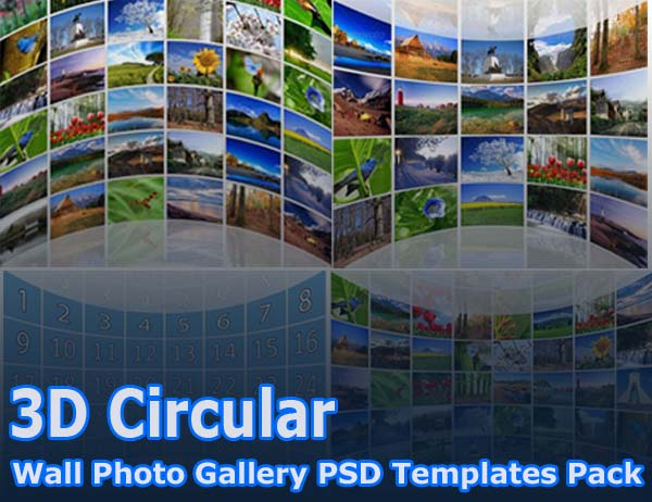 3D Circular Wall Photo Gallery PSD Templates Pack